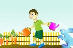 Junge, der Karottengemüse pflanzt Stockfoto