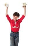 Junge, der in Konkurrenz gewinnt lizenzfreie stockbilder