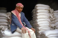 Junge an der Mehlfabrik Stockbild