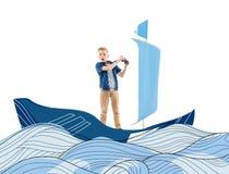 Junge, der mit Boot spielt Lizenzfreie Abbildung