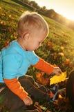Junge, der mit Herbstblättern spielt Stockbild