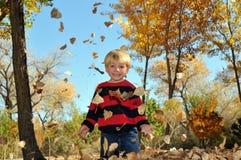 Junge, der mit Herbstblättern spielt Lizenzfreie Stockfotografie