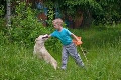 Junge, der mit Hund spielt stockbilder