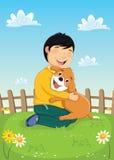 Junge, der mit Hundevektor-Illustration spielt Lizenzfreie Stockbilder