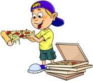 Junge, der Pizza isst vektor abbildung