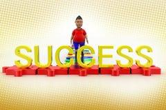 Junge, der in Richtung zum Erfolgs-Text im Halbton geht Stockfotografie