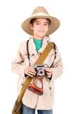 Junge in der Safarikleidung Lizenzfreie Stockfotos