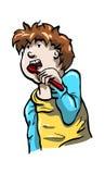 Junge, der seine Zähne putzt lizenzfreie abbildung
