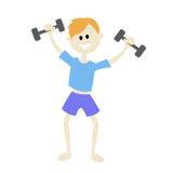 Junge, der Sport, mit Dummköpfen spielt In den blauen kurzen Hosen und in einem blauen Hemd Morgengymnastik Stockbild