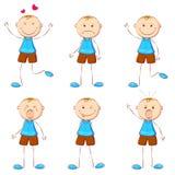 Junge in der unterschiedlichen Stimmung Stockfotos
