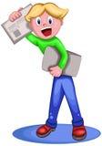 Junge, der Zeitungs-Zeichentrickfilm-Figur verkauft Lizenzfreies Stockfoto