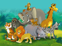 Junge dos desenhos animados - ilustração para as crianças Fotos de Stock
