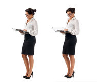 Junge dunkle behaarte Geschäftsfrau Lizenzfreies Stockfoto