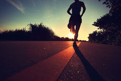 Junge Eignungsfrau, die auf Sonnenaufgangküstenspur läuft Stockfotografie