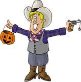 Junge in einem Cowboykostüm lizenzfreie abbildung