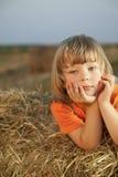 Junge in einem Heuschober auf dem Gebiet Stockbild