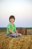 Junge in einem Heuschober auf dem Gebiet Stockbilder