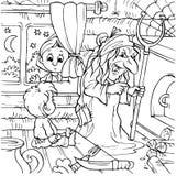 Junge in einem Hexehaus Lizenzfreie Stockbilder