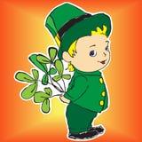 Junge in einem Kleid mit Blumenstrauß des irischen Klees Vektor Abbildung