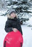 Junge in einem schneebedeckten Wald mit Schlitten stockfoto