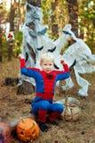 Junge in einer Klage des Spidermans für Halloween Stockfotografie