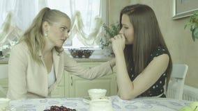 Junge elegante Frau, die zu Hause traurigen Freund während der Teezeit tröstet stock footage
