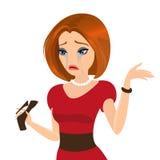 Junge elegante Frau schreit wegen einer defekten Ferse Lizenzfreie Stockfotos