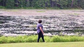 Junge erwachsene Frau, die nahe See schlendert stock footage
