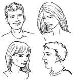 Junge erwachsene Gesichter lizenzfreie abbildung