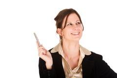 Junge erwachsene kaukasische Geschäftsfrau hat eine Idee Lizenzfreie Stockfotografie