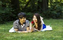 Junge erwachsene Paare genießen, einzelne rote Rose zu betrachten stockfoto