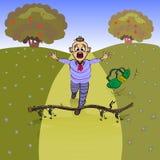 Junge fällt, er stolperte auf einen trockenen Zweig Lizenzfreies Stockbild