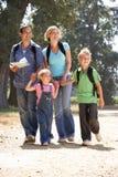 Junge Familie auf Landweg Stockfotografie