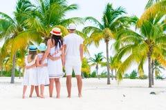 Junge Familie auf Strandferien in der Palmenwaldung Stockfotografie