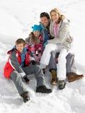 Junge Familie auf Winter-Ferien Stockfotos