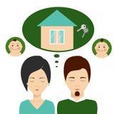 Junge Familie denkt an Hypotheken Lizenzfreie Stockfotos