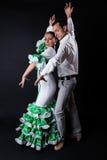 Junge Flamencotänzer im schönen Kleid auf schwarzem Hintergrund Stockbild