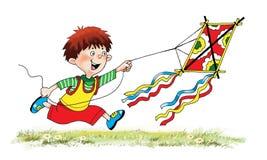 Junge fliegt Drachengras-Himmelkarikatur stock abbildung