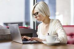 Junge fokussierten die Frau, die mit Laptop-Computer im Café arbeitet Lizenzfreie Stockfotografie
