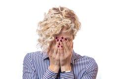 Junge Frau über weißem Hintergrund Stockbilder