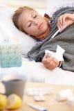 Junge Frau abgefangenes kaltes Legen in Bett Stockbild
