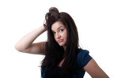 Junge Frau ahnungslos Stockfoto
