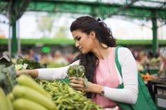 Junge Frau auf dem Markt Stockfotografie
