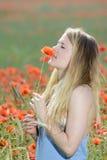 Junge Frau auf dem Mohnblumegebiet Lizenzfreie Stockfotos