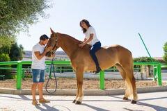 Junge Frau auf einem braunen Pferd ohne Sattel Stockfotos