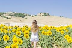 Junge Frau auf einem Gebiet der Sonnenblumen Stockfoto