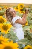 Junge Frau auf einem Gebiet der Sonnenblumen Sonnenunterganglicht auf dem Gebiet von Sonnenblumen Lizenzfreie Stockfotografie