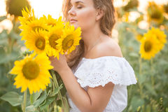 Junge Frau auf einem Gebiet der Sonnenblumen Sonnenunterganglicht auf dem Gebiet von Sonnenblumen Stockfoto