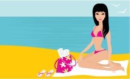 Junge Frau auf einem Strand Stockfoto