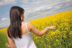 Junge Frau auf Feld stockbild